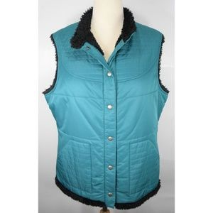 Pendleton Blue Faux Fur Puff Vest Button Jacket L